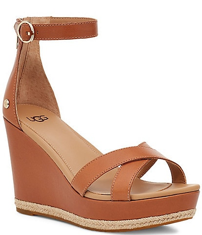 UGG® Ezrah Leather Ankle Strap Wedges