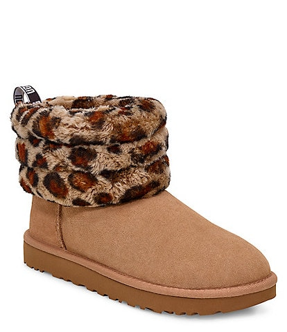 UGG® Fluff Mini Quilted Leopard Booties