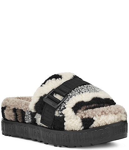 UGG® Fluffita Cali Collage Buckle Faux Shearling Slides
