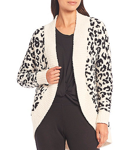 UGG Fremont Fluffy Sweater Knit Leopard Print Lounge Cardigan