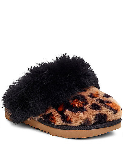 UGG® Girls' Cozy II Faux Fur Leopard Print Slippers (Toddler)