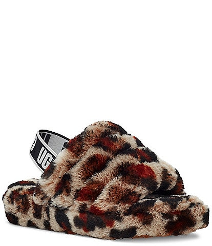UGG® Girls' Fluff Yeah Leopard Slippers Youth