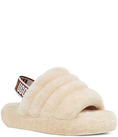 UGG® Girls' Logo Fluff Yeah Fur Slides (Youth)