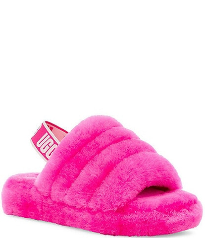UGG® Logo Girls' Fluff Yeah Slides (Youth)