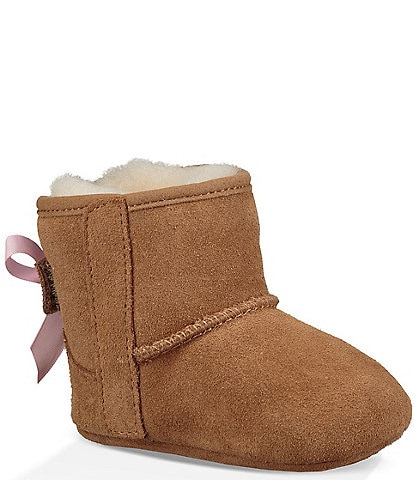 UGG® Girls' Jesse Bow II Suede Crib Shoes