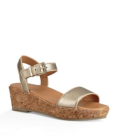 UGG® Girls' Milley Met Metallic Wedge Sandals