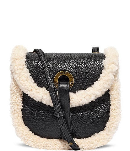 UGG Heritage Fold Over Sheepskin Trim Crossbody Bag
