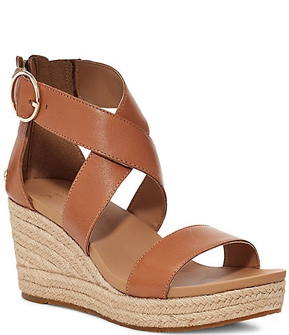 UGG® Hylda Leather Espadrille Wedges