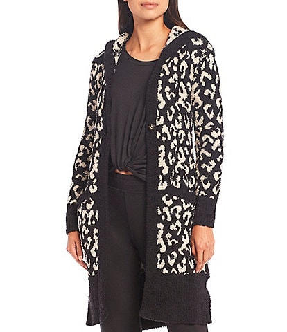 UGG Judith Sweater-Knit Leopard Print Hooded Lounge Cardigan