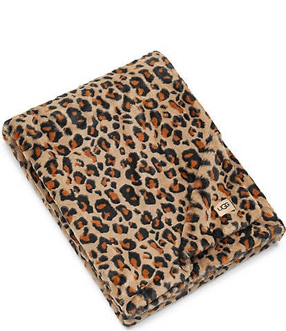 UGG Juno Leopard Faux Fur Throw