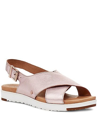 UGG® Kamile Metallic Leather Slingback Sandals