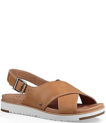 UGG® Kamile Leather Slingback Sandals