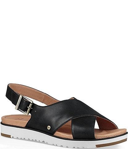 UGG® Kamile Leather Slingback Sandals