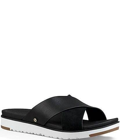 UGG® Kari Leather and Suede Banded Slide Sandals