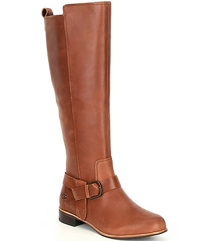 UGG® Katelyn Leather Tall Block Heel Riding Boots