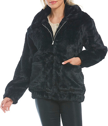 UGG Kianna Long Sleeve Zip Front Faux Fur Cozy Jacket