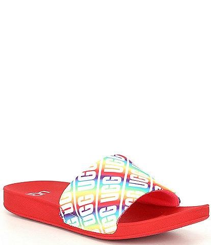 UGG® Kids' Beach Logo Graphic Rainbow Slides (Youth)