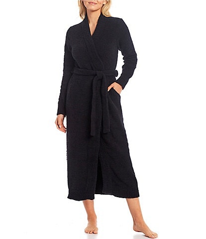 UGG Lenny Solid Fluffy Sweater Knit Flat Band Neck Long Sleeve Long Robe