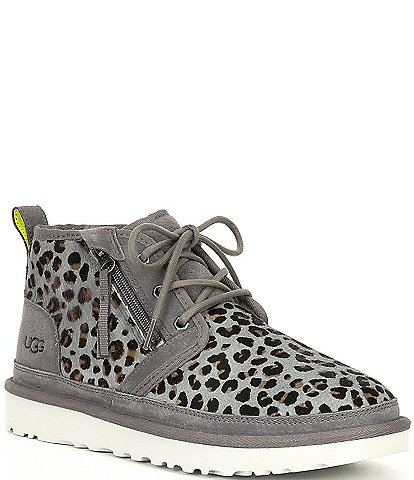 UGG® Men's Neumel Side Zip Leopard Print Calf Hair Boots