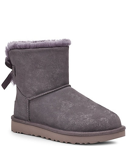 UGG® Mini Bailey Bow II Metallic Suede Shimmer Boots