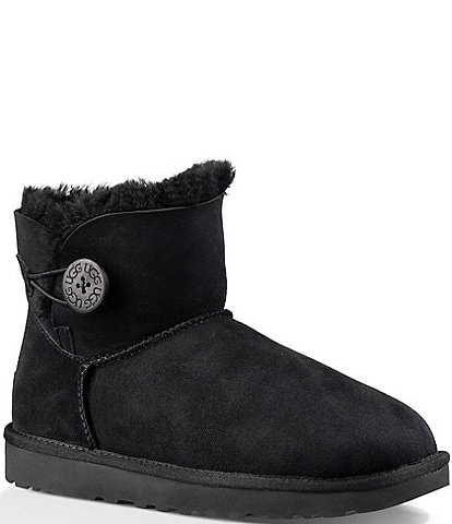 UGG® Mini Bailey Button II Water-Repellent Suede Booties