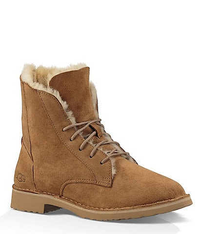 UGG® Quincy Lace Up Art-Deco Inspired Snap Water-Repellent Booties