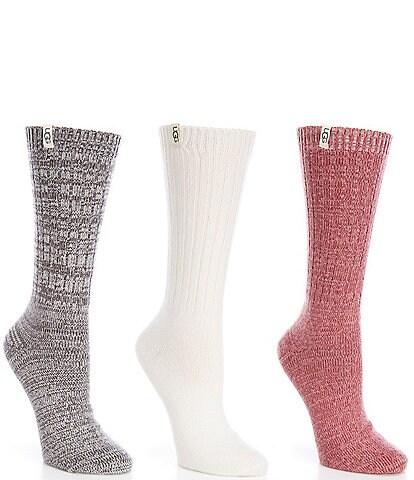 UGG Rib Knit Slouchy Crew Socks, 3 Pack