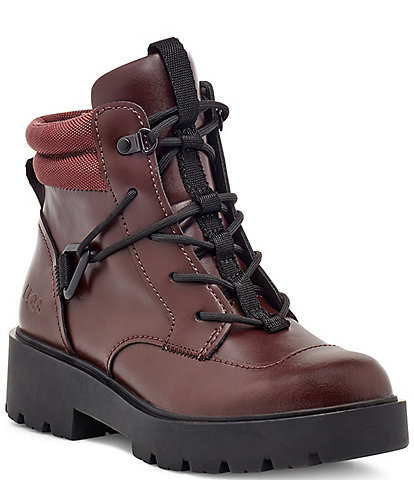 UGG® Tioga Waterproof Lace-Up Coated Leather Block Heel Hikers