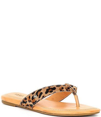UGG® Tuolumne Leopard Print Calf Hair Sandals