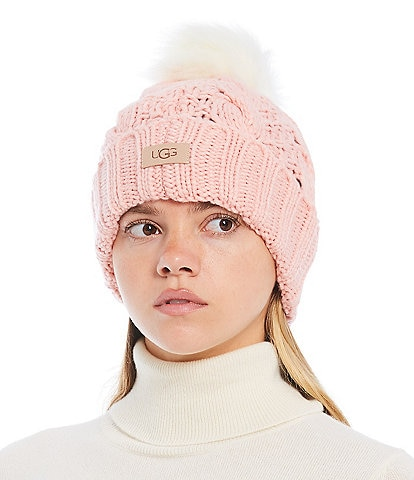 UGG Women's Knit Cable Beanie With Faux Fur Pom