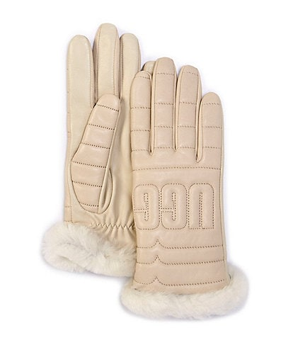 UGG Women's Leather Quilted Logo Glove