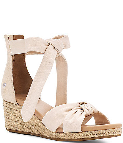 UGG® Yarrow Canvas Suede Espadrille Wedges