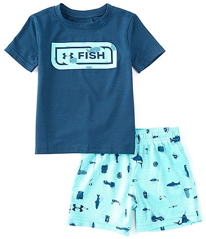 Under Armour Baby Boys 12-24 Months Short-Sleeve Fish Bait Tee & Printed Shorts Set