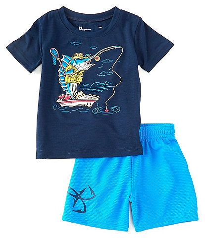 Under Armour Baby Boys 12-24 Months Short-Sleeve Marlin Fishing Tee & Shorts Set