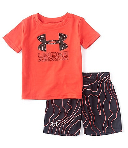 Under Armour Baby Boys 12-24 Months Short-Sleeve Shadow Big Logo Tee & Printed Shorts Set