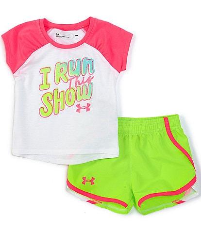 Under Armour Baby Girls Newborn-24 Months Short-Sleeve I Run This Show Raglan Tee & Shorts Set