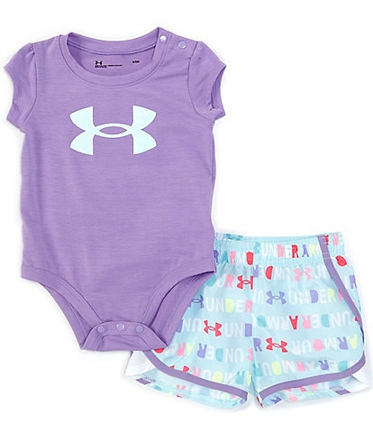 Under Armour Baby Girls 3-24 Months Short-Sleeve Blocked Wordmark Bodysuit & Shorts Set
