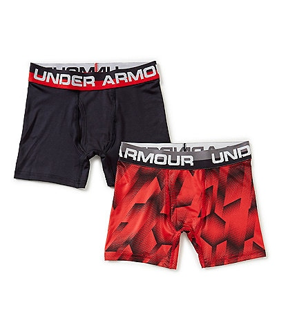 Under Armour Big Boys 8-20 2-Pack Sandstorm/Solid Boxer Briefs