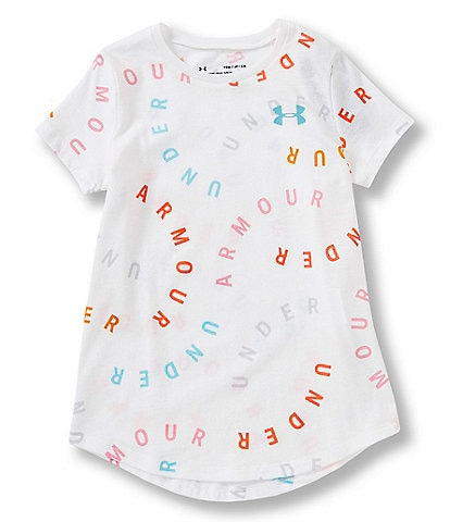 Under Armour Big Girls 7-16 Short-Sleeve All Over Wordmark Tee