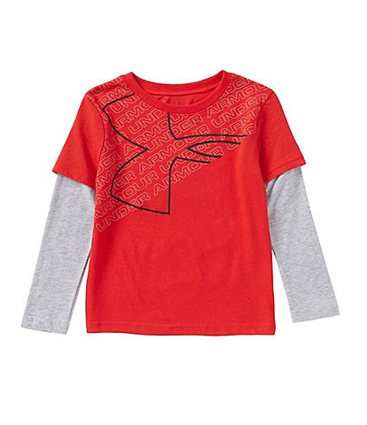 Under Armour Little Boys 2T-7 Big Logo Long Sleeve Two-Fer Tee