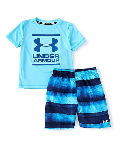 Under Armour Little Boys 2T-7 Biogen Stripe Volley 2-Piece Swim Set