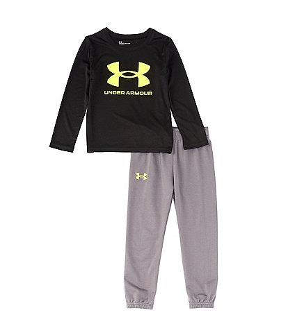 Under Armour Little Boys 2T-7 Long-Sleeve Core Logo Tee & Fleece Jogger Pants Set