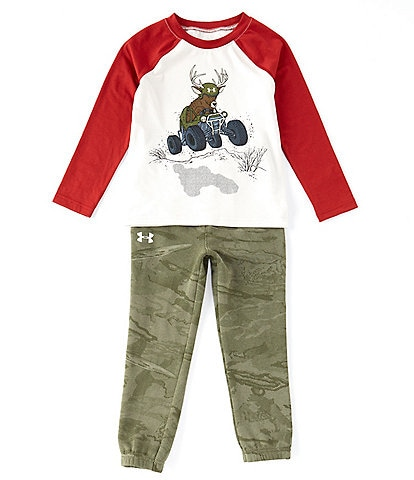 Under Armour Little Boys 2T-7 Long-Sleeve Deer Buggy Raglan Tee & Camo Pant Set