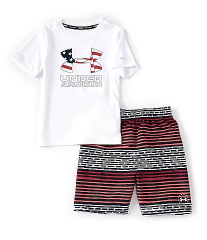 Under Armour Little Boys 2T-7 UA Freedom Gradient Stripe Volley 2-Piece Swim Set