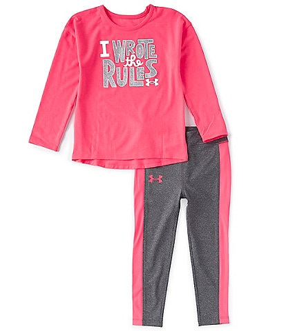 Under Armour Little Girls 2T-6X Long-Sleeve I Wrote The Rules Tee & Leggings Set