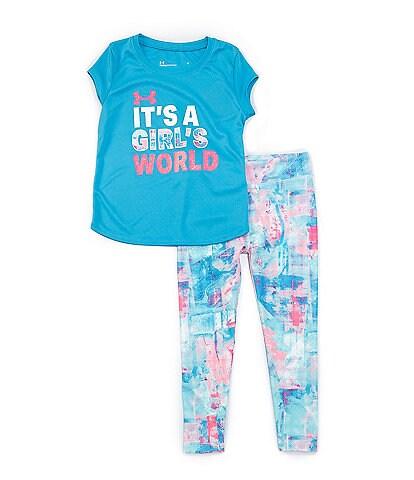 Under Armour Little Girls 2T-6X Short Sleeve It's A Girls World Tee & Legging Set