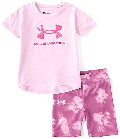 Under Armour Little Girls 2T-6X Short-Sleeve UA Tee & Floral Biker Shorts Set