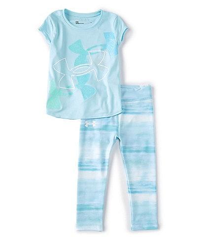 Under Armour Little Girls 2T-6X Short-Sleeve UA Triple Logo Graphic Tee & Leggings Set