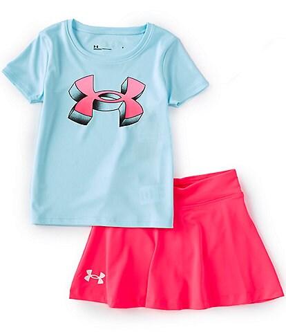 Under Armour Little Girls 2T-6X UA 3-D Logo Tee & Skort Set