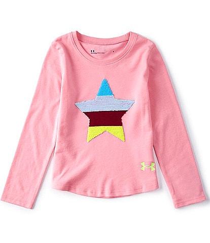 Under Armour Little Girls 4-6X Long-Sleeve Flip Sequin Star Tee